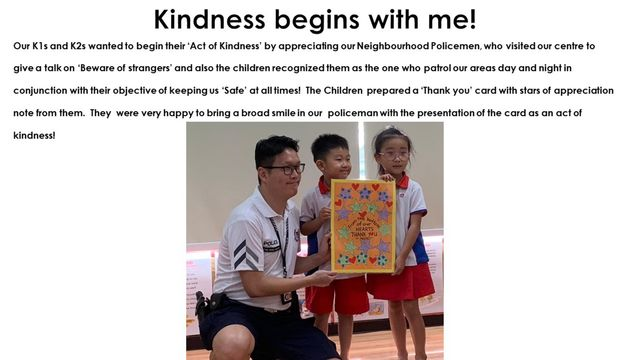 "PCF Sparkletots Preschool @ Chong Pang BLK 277 SSDB THEME ""KINDNESS BEGINS WITH ME"""